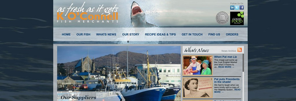 K O Connell Fish Merchants in Cork Website Design