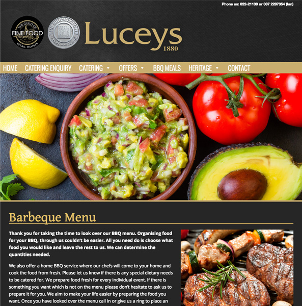 Luceys Good Food in Mallow Website Design