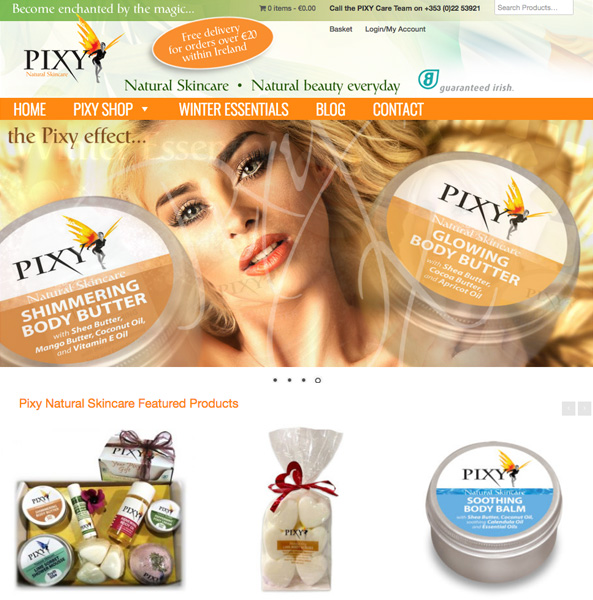 Pixy Natural Skincare in Mallow eCommerce Website Design