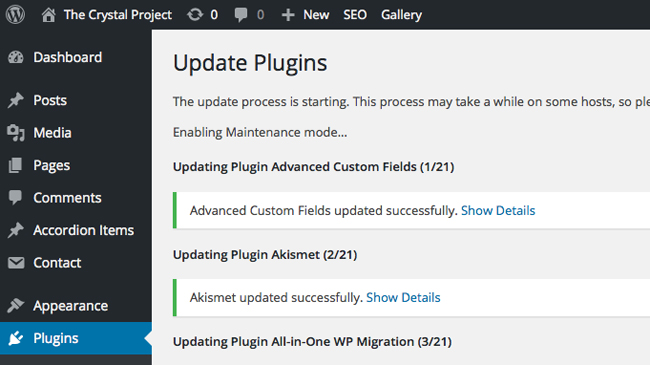 Wordpress Plugin Updates Screen